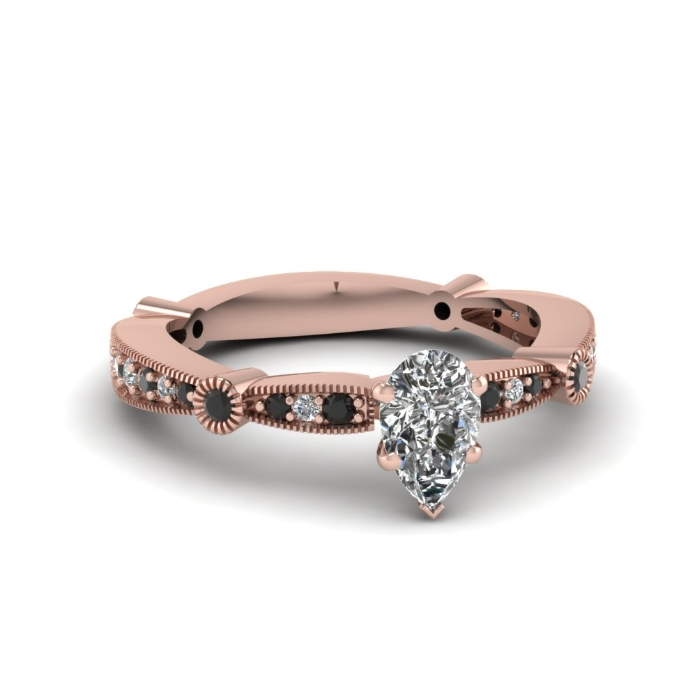 Pear Vintage Tapered Engagement Ring With Black Diamond In 14K Rose Pertaining To Most Up To Date Diamond Accent Milgrain Anniversary Bands In 10K Rose Gold (View 5 of 15)