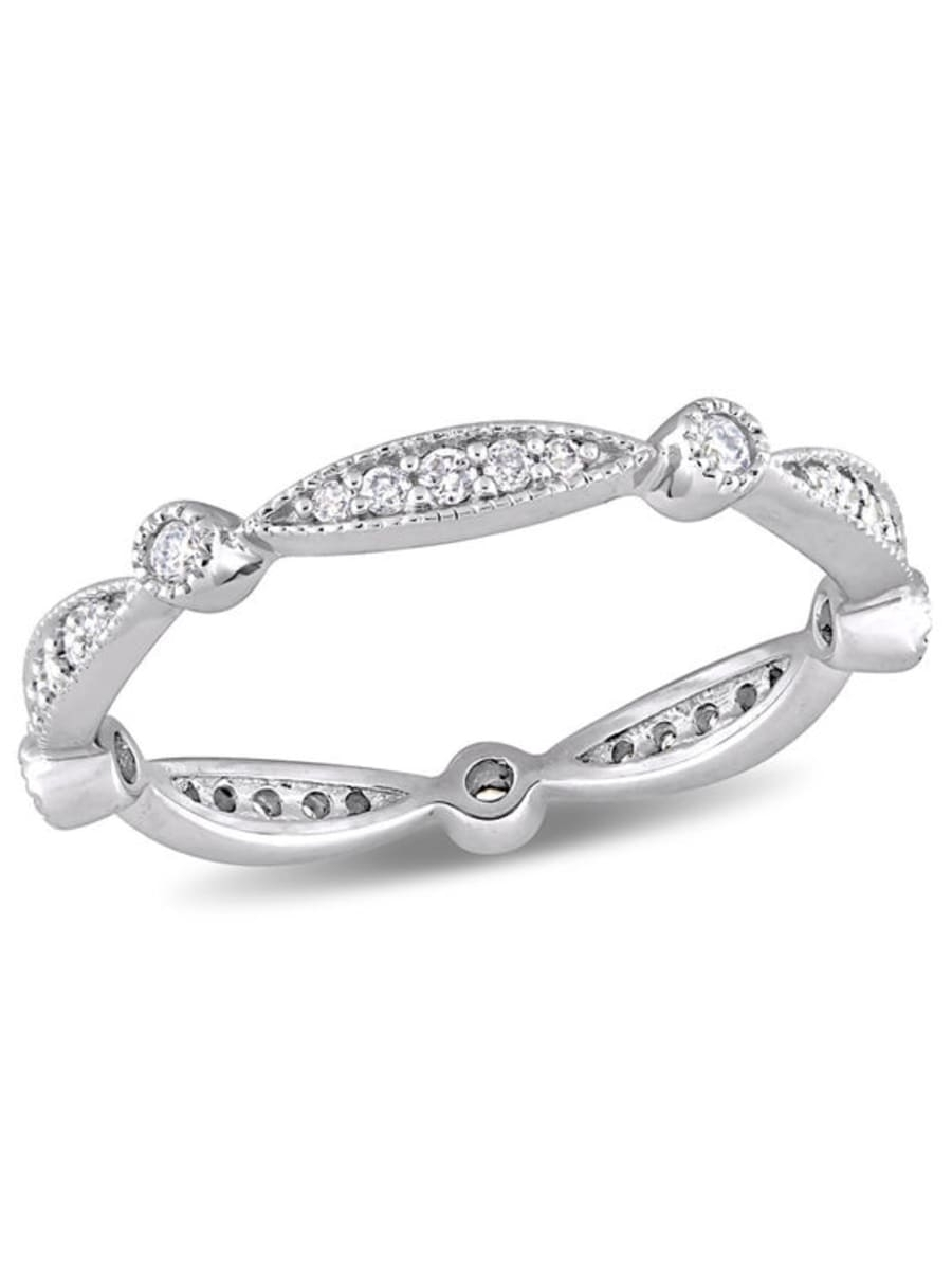 Featured Photo of Diamond Alternating Vintage Style Eternity Wedding Bands In 10K White Gold
