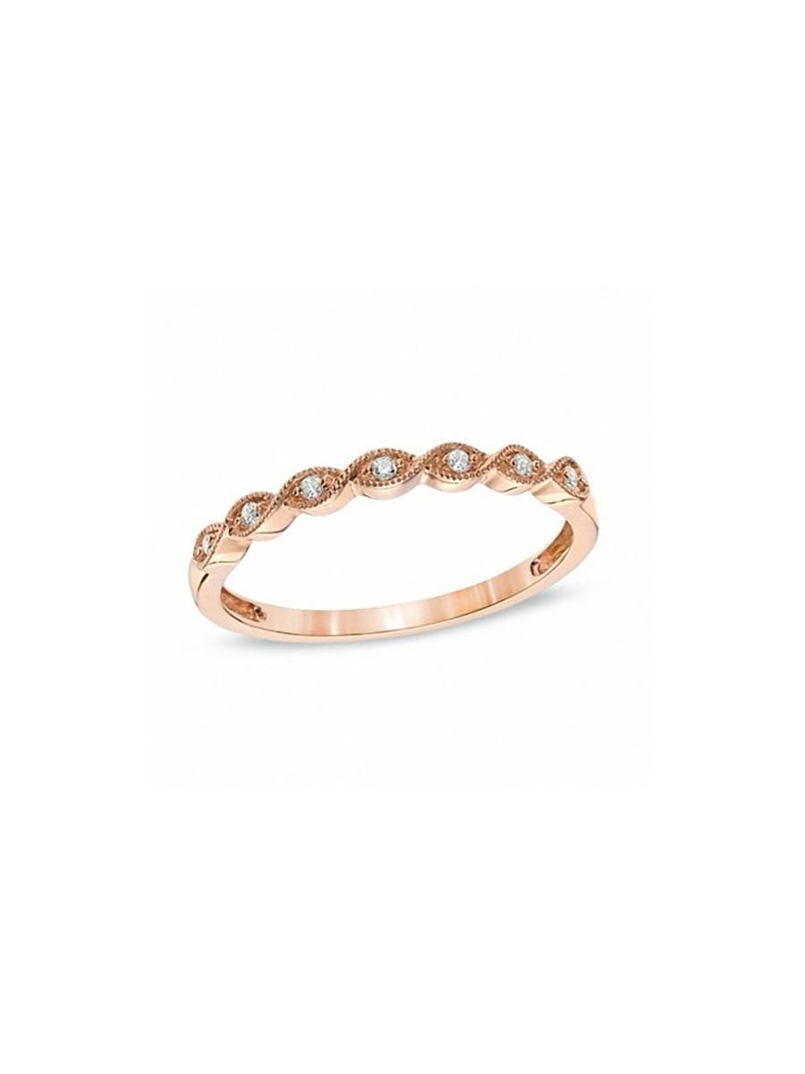 Featured Photo of Diamond Twist Anniversary Bands In 10K Rose Gold