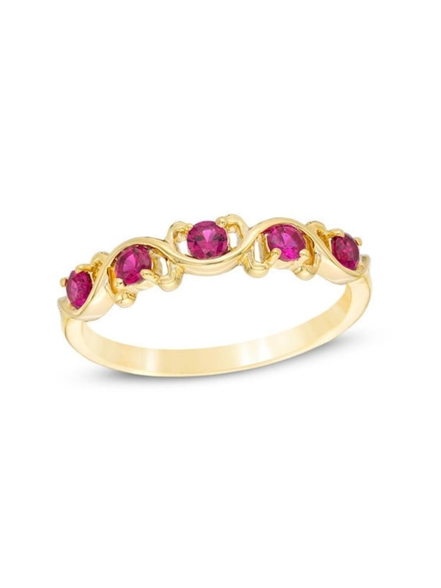 Peoples Lab Created Ruby Five Stone Wavy Ribbon Ring In 10K Gold Intended For Most Recent Lab Created Ruby Five Stone Anniversary Bands (View 11 of 15)