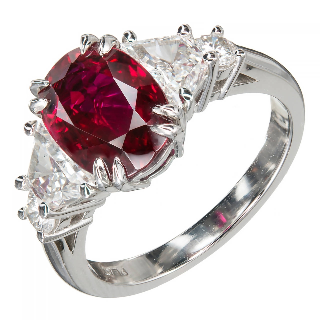 Peter Suchy 2.96 Carat Red Oval Ruby Diamond Platinum Engagement In Recent Vintage Style Ruby And Diamond Rings (Gallery 11 of 15)