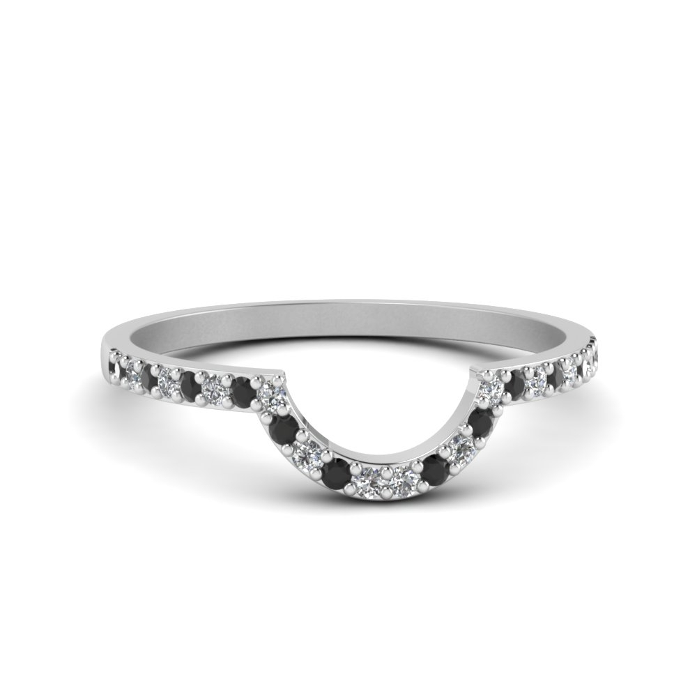 Petite Curved Diamond Wedding Band With Black Diamond In 14K White Within Best And Newest Diamond Contour Wedding Bands In 14K White Gold (View 14 of 15)