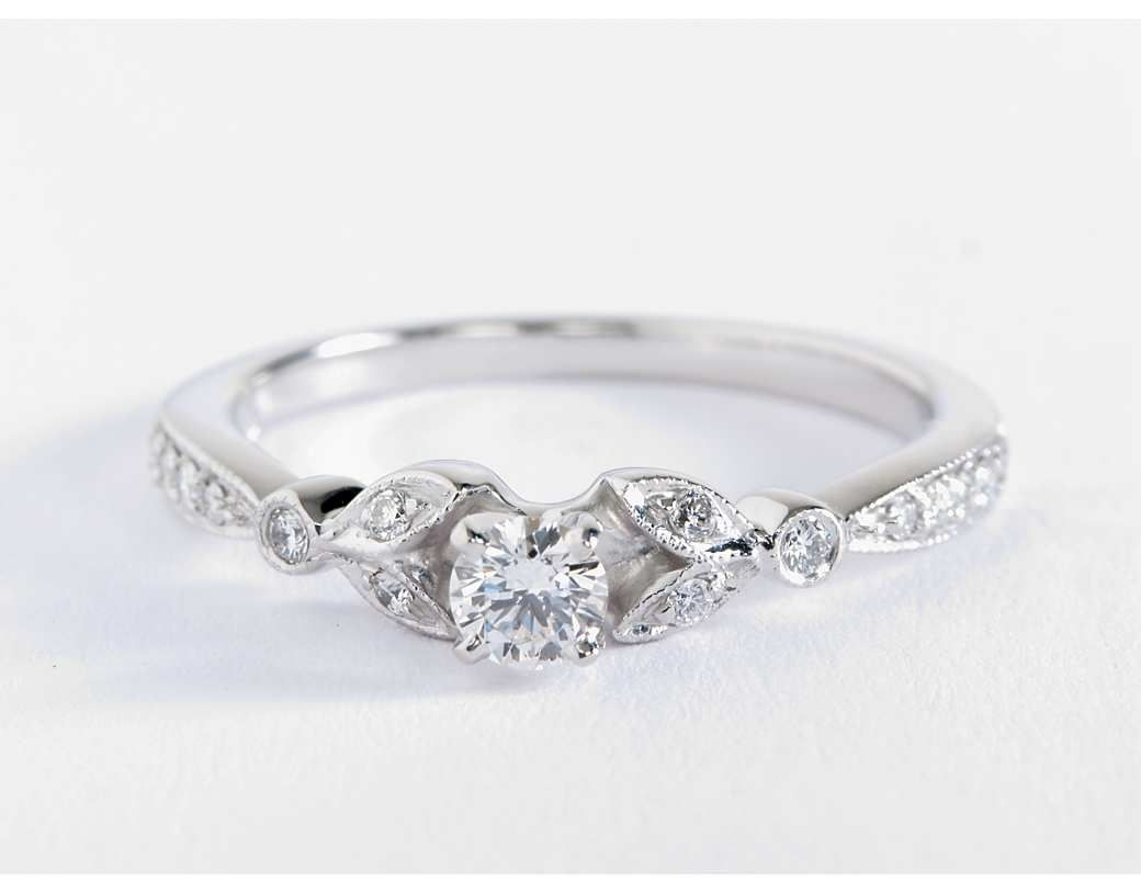 Petite Vintage Pavé Leaf Diamond Engagement Ring In 14K White Gold Pertaining To Newest Diamond Octagon Frame Vintage Style Engagement Rings In 14K White Gold (View 7 of 15)