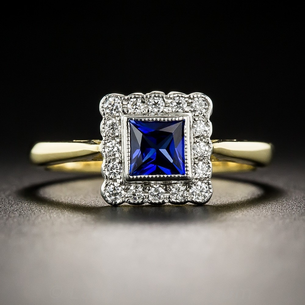 Petite Vintage Style Sapphire And Diamond Ring For Latest Vintage Style Sapphire Engagement Rings (View 5 of 15)
