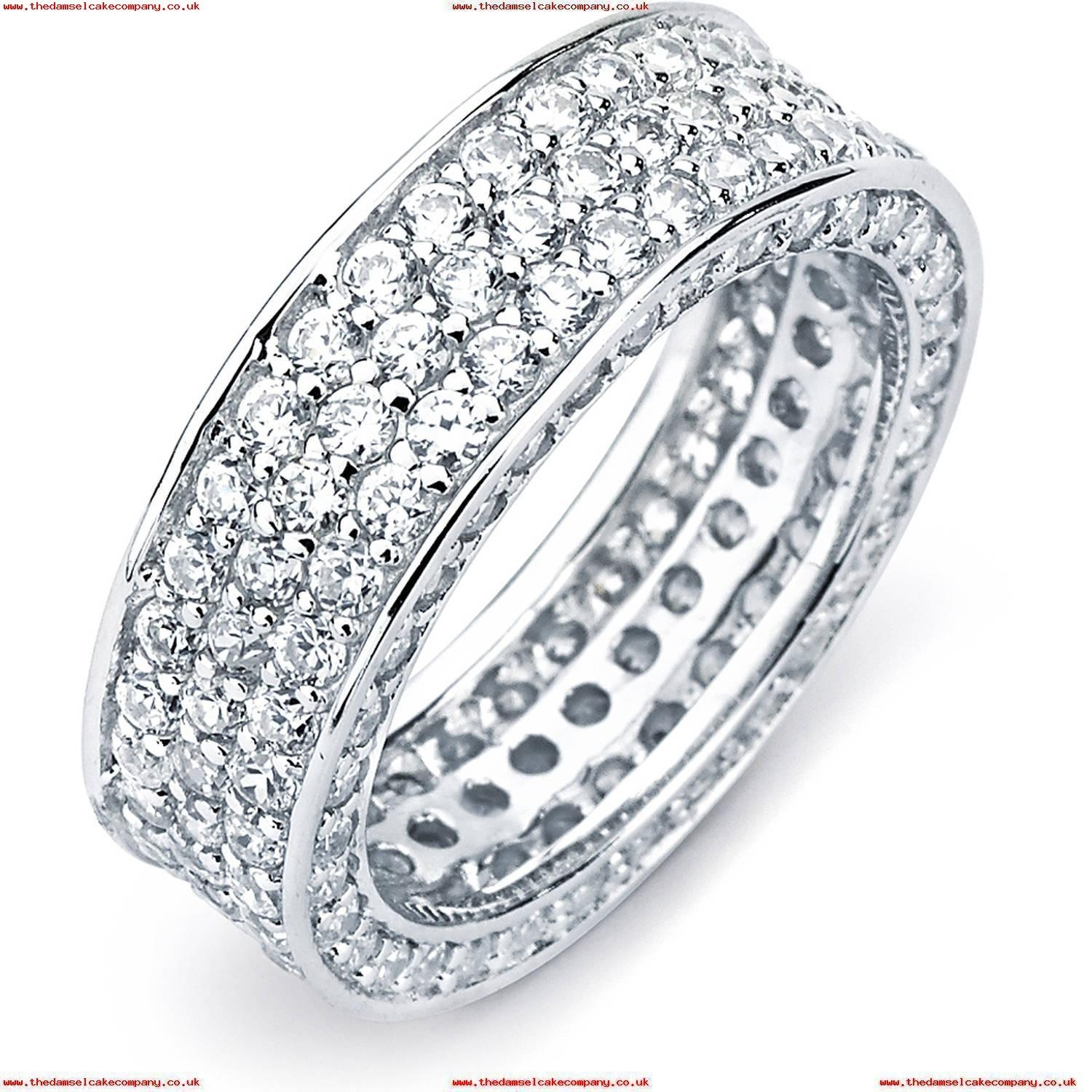 Pori Jewelers Pave Cz Sterling Silver 3 Row Insideout Eternity Band In Most Up To Date Diamond Four Row Anniversary Bands In Sterling Silver (Gallery 11 of 15)