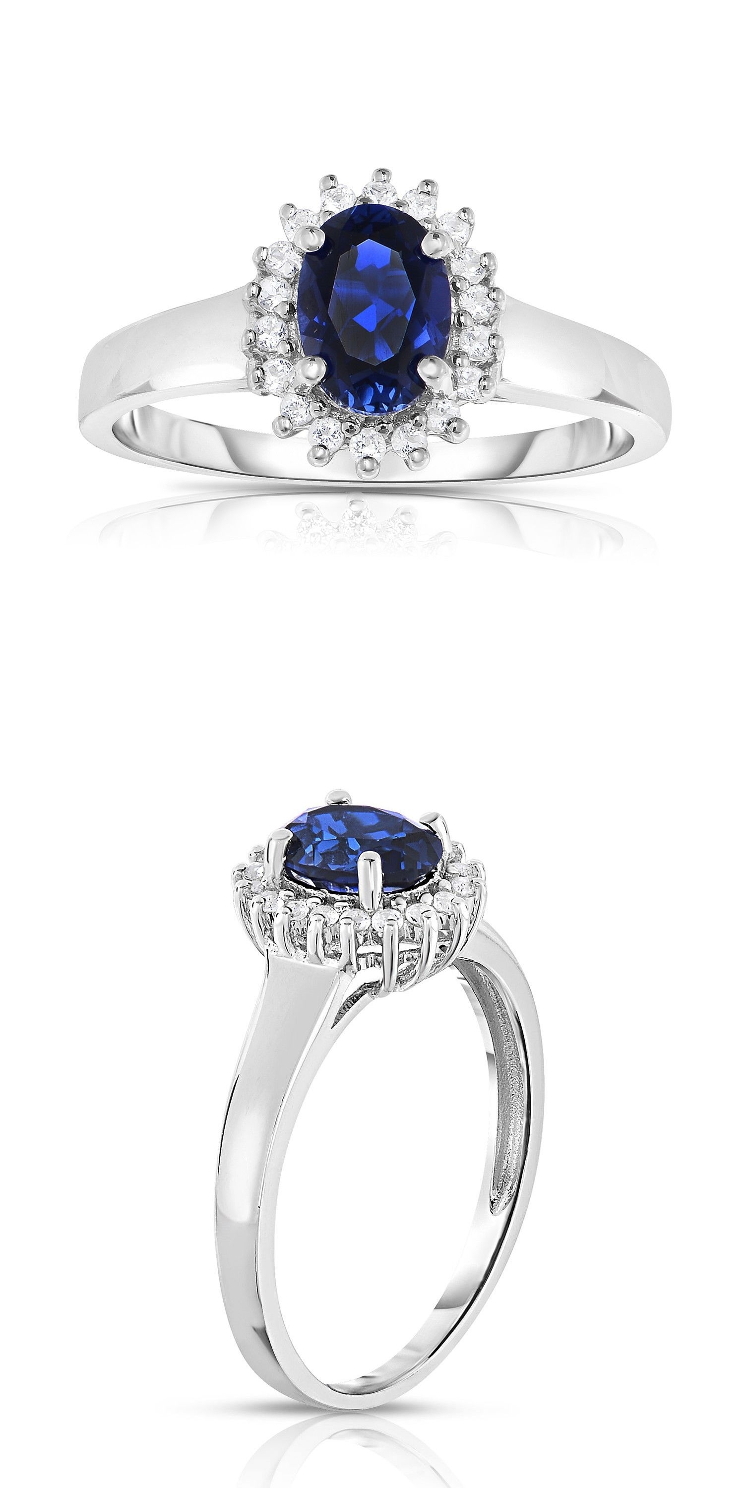 Pretty Oval Sapphire Engagement Rings With Gemstone 10K White Gold With Regard To Most Up To Date Lab Created Blue Sapphire Five Stone Anniversary Bands In 10K White Gold (View 13 of 15)