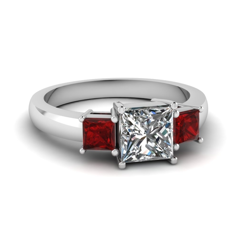 Princess Cut 3 Stone Ring With Ruby In 14k White Gold | Fascinating Regarding Most Popular Ruby And Diamond Five Stone Anniversary Bands In 14k White Gold (View 11 of 15)