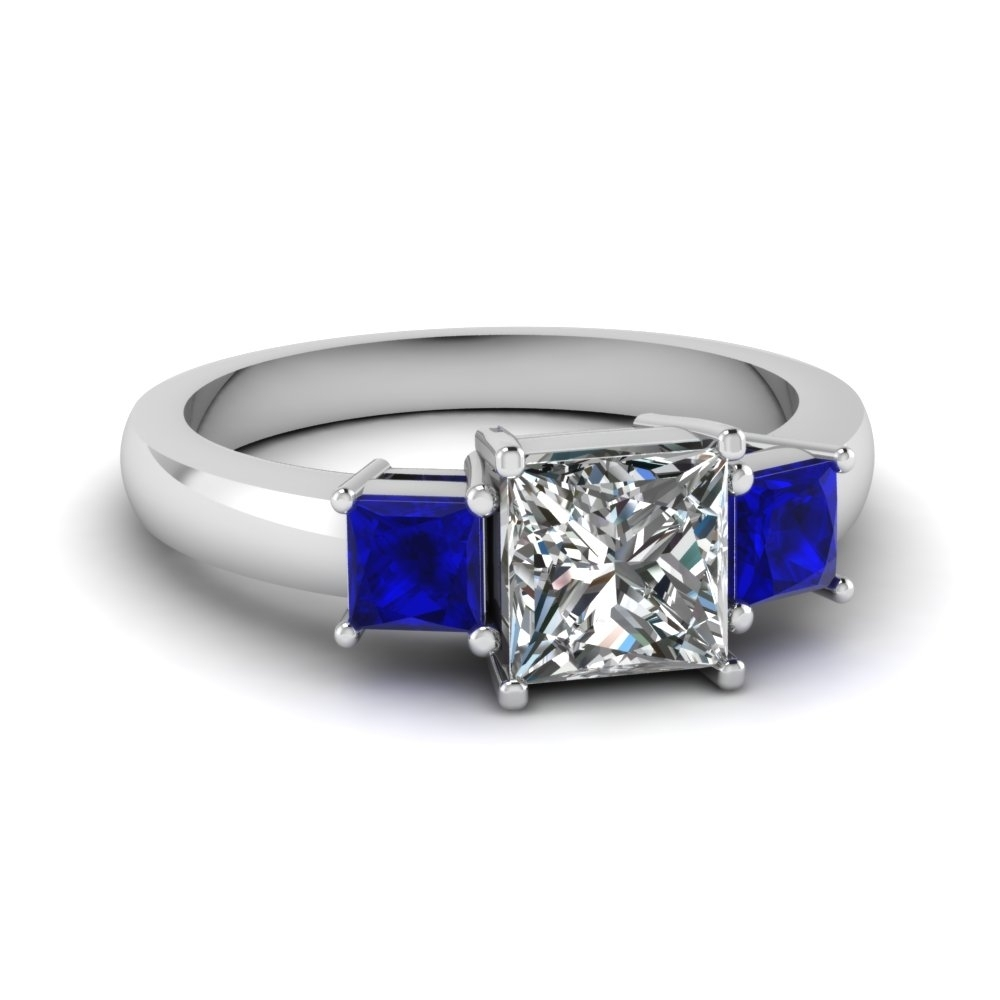 Princess Cut 3 Stone Ring With Sapphire In 14k White Gold Regarding Best And Newest Princess Cut Blue Sapphire And Diamond Five Stone Rings In 14k White Gold (View 7 of 15)