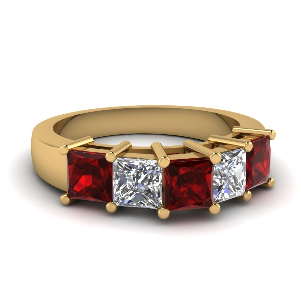 Princess Cut 5 Stone Wedding Anniversary Band With Ruby In 14k Regarding 2017 Ruby And Diamond Five Stone Anniversary Bands In 14k White Gold (View 5 of 15)