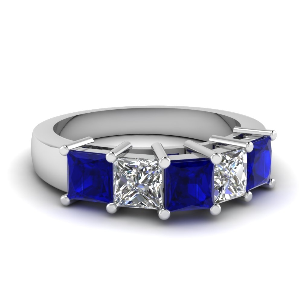 Princess Cut 5 Stone Wedding Anniversary Band With Sapphire In 14k With Best And Newest Princess Cut Blue Sapphire And Diamond Five Stone Rings In 14k White Gold (View 2 of 15)