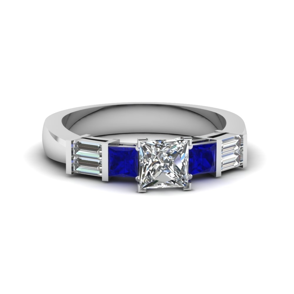 Princess Cut Bar Set Baguette And Princess Diamond Engagement Ring With Regard To Best And Newest Princess Cut Blue Sapphire And Diamond Five Stone Rings In 14k White Gold (View 3 of 15)