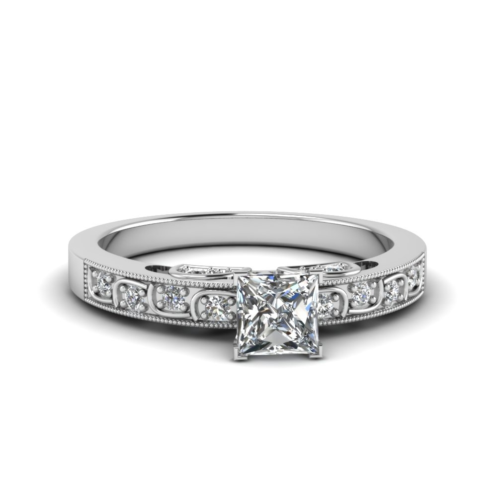Featured Photo of Princess Cut Diamond Frame Vintage Style Twist Bridal Rings In 14K White Gold