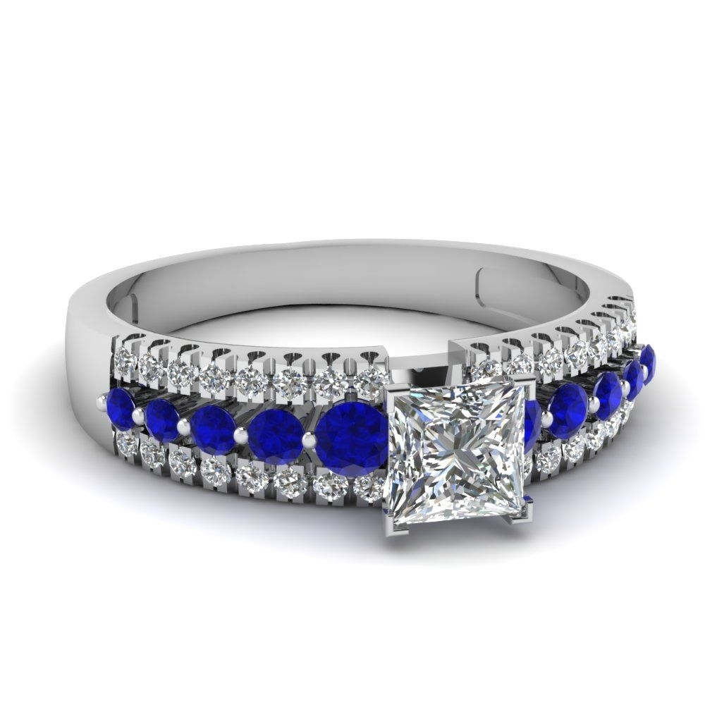 Princess Cut Diamond Triple Row Side Stone Engagement Ring With Blue With Regard To Most Current Princess Cut Blue Sapphire And Diamond Five Stone Rings In 14k White Gold (View 6 of 15)