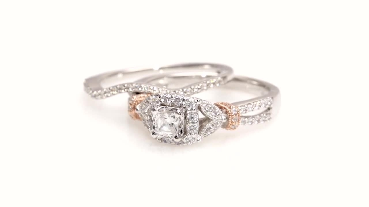 Princess Cut Diamond Vintage Style Bridal Set In 14K Two Tone Gold Inside Most Popular Diamond Octagon Frame Vintage Style Engagement Rings In 14K White Gold (Gallery 6 of 15)