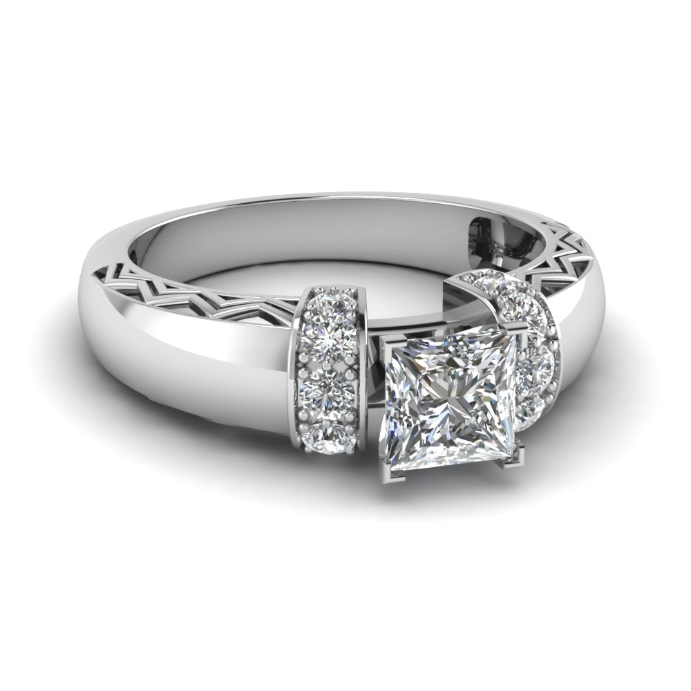 Princess Cut Diamond Zigzag Design Side Stone Engagement Ring In 18K Pertaining To Newest Diamond Zig Zag Anniversary Rings In 18K White Gold (Gallery 1 of 15)