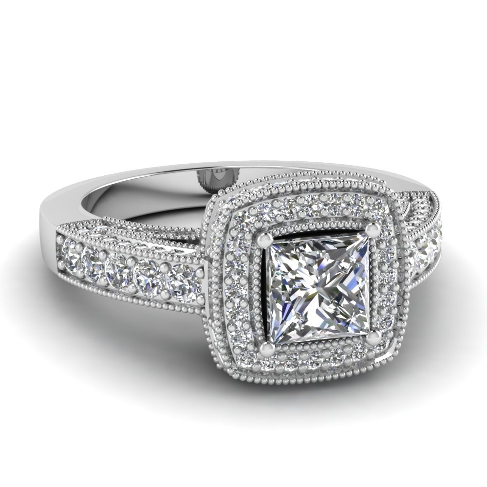 Princess Cut Square Halo Victorian Diamond Vintage Engagement Ring Within Most Popular Vintage Style Diamond Wedding Rings (View 11 of 15)