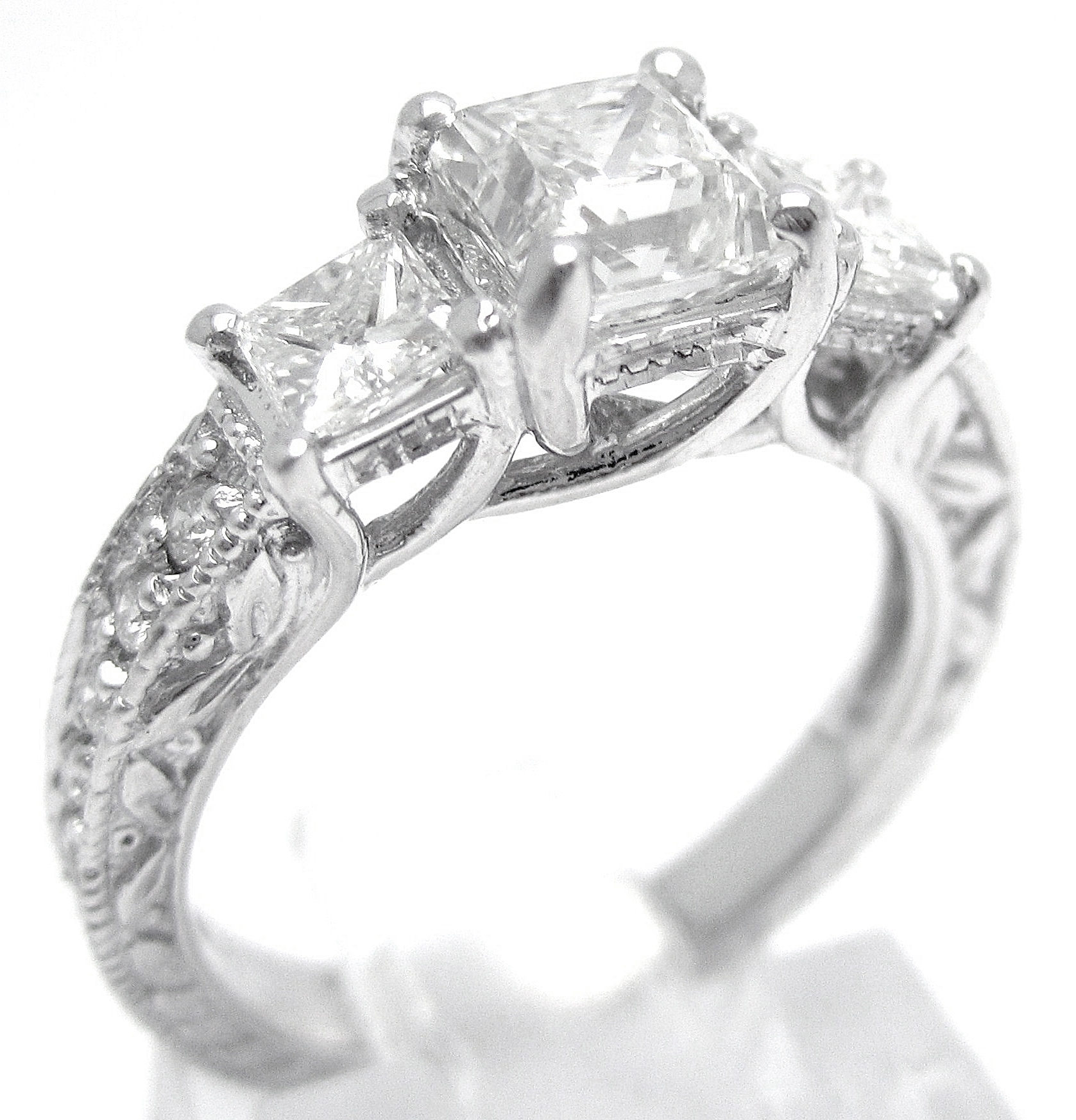Princess Cut Three Stone Antique Style Diamond Engagement Ring With In Most Recent Vintage Style Princess Cut Diamond Engagement Rings (View 2 of 15)