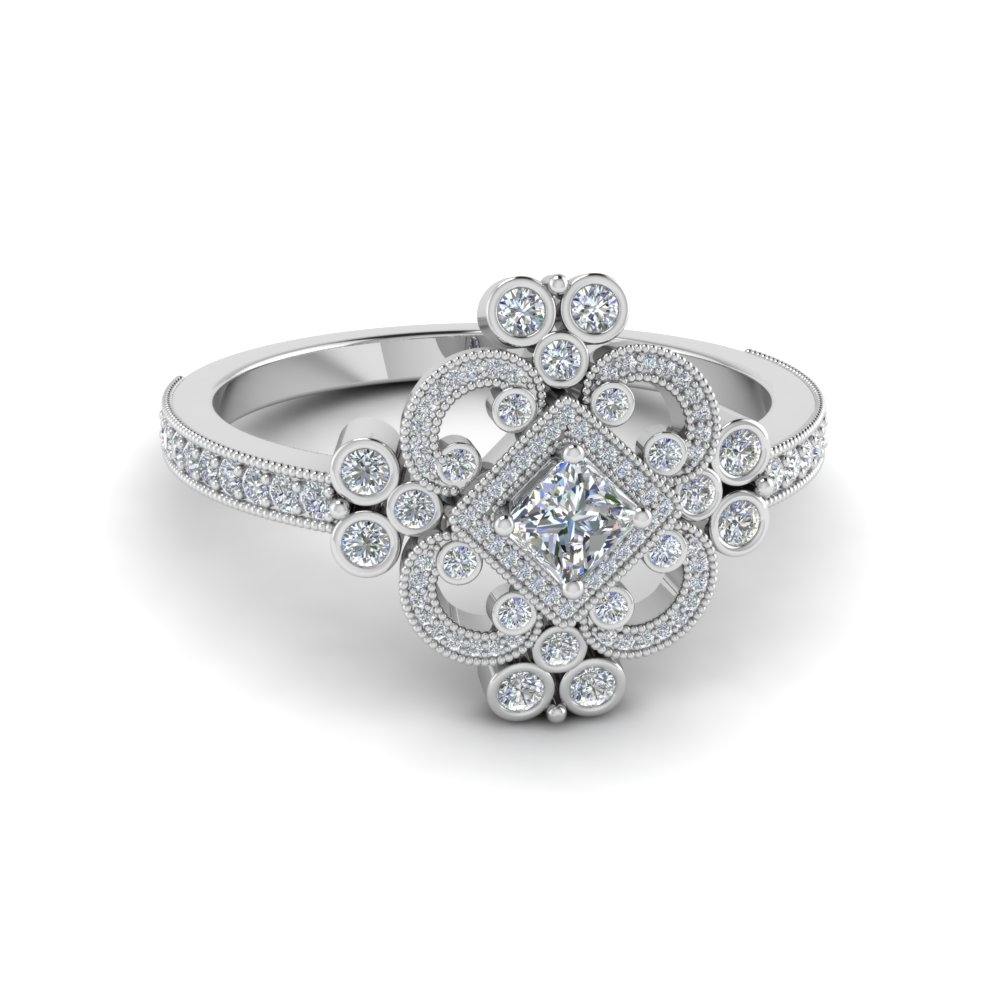 Featured Photo of Diamond Flower Vintage Style Engagement Rings In 14K White Gold