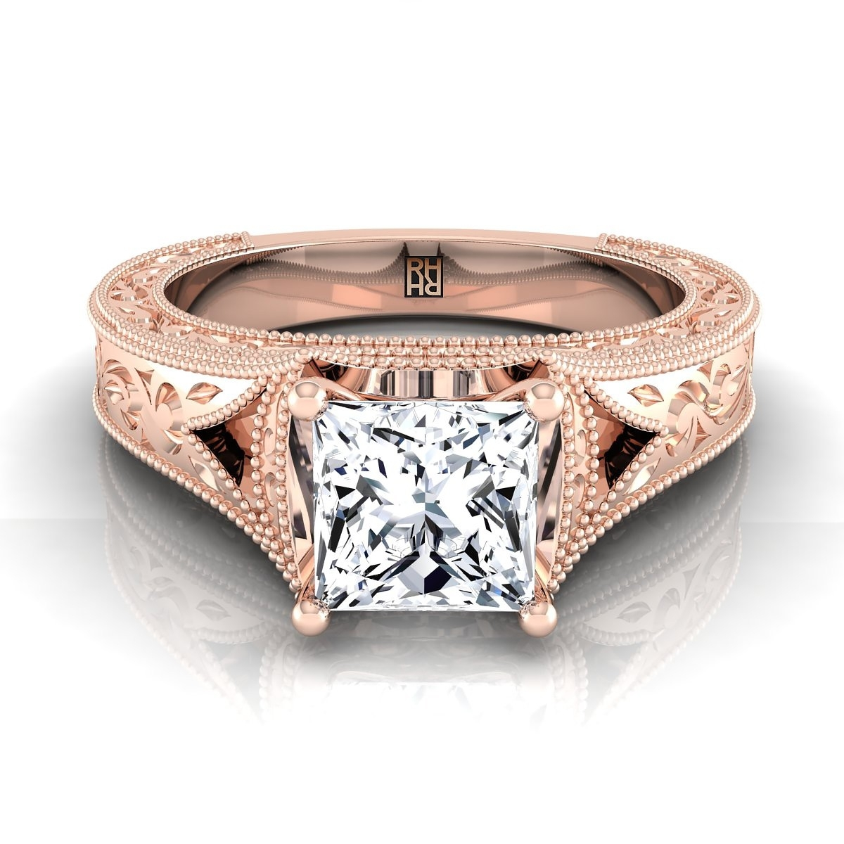 Princess Cut Vintage Inspired Engraved Engagement Ring In 14K Rose With Regard To Best And Newest Vintage Style Princess Cut Diamond Engagement Rings (View 12 of 15)