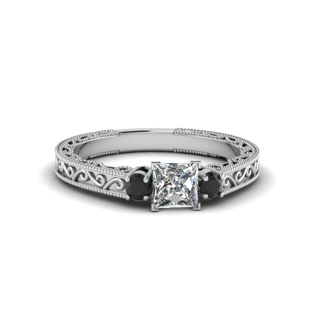 Princess Cut Vintage Style 3 Stone Diamond Engagement Ring With Throughout Current Vintage Style Black Diamond Engagement Rings (View 12 of 15)