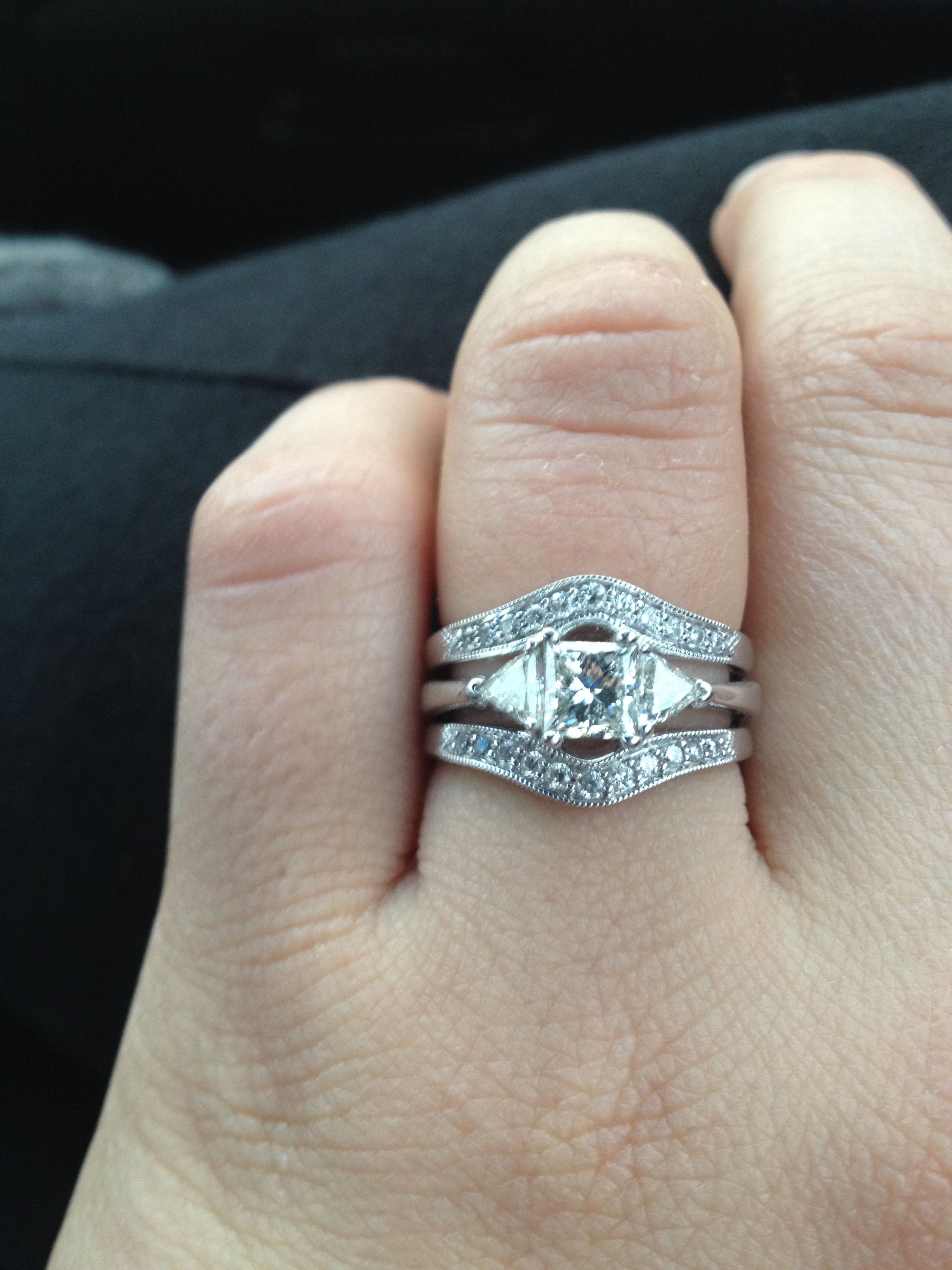 Princess Cut With Trillions And Enhancer Wedding Band !!! Love My Pertaining To Most Current Marquise And Princess Cut Composite Diamond Six Stone Anniversary Bands (View 11 of 15)