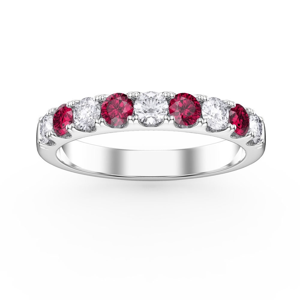 Promise Ruby And Diamond Platinum Half Eternity Ring 3Mm Band:jian Pertaining To Most Popular Ruby And Diamond Eternity Bands In Platinum (View 12 of 15)