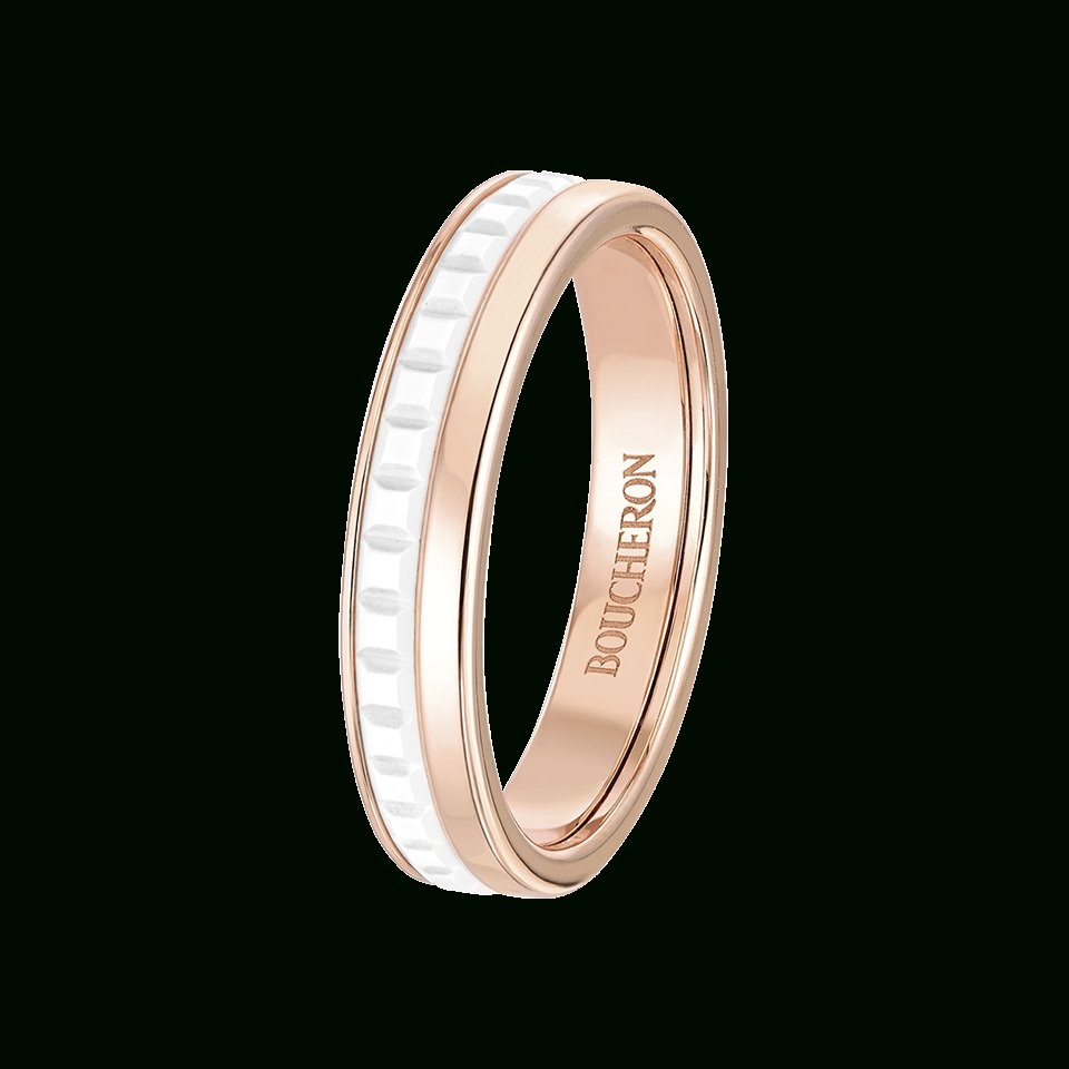Quatre White Edition Wedding Band – Boucheron Usa With Regard To Most Popular White Ceramic Wedding Bands (View 12 of 15)