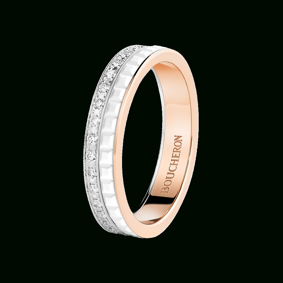 Quatre White Edition Wedding Band Pink White Gold And White Ceramic In Most Up To Date White Ceramic Wedding Bands (View 11 of 15)