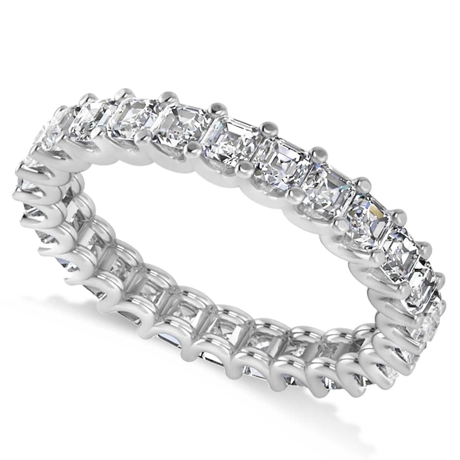 Radiant Cut Diamond Eternity Wedding Band Ring 14K White Gold  (View 13 of 15)