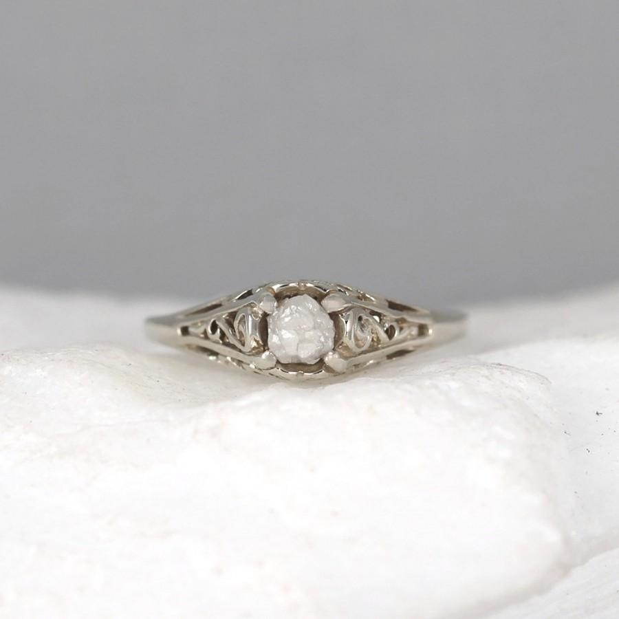Raw Diamond Engagement Ring – 14K White Gold – Antique Style Rings In Recent Diamond Flower Vintage Style Engagement Rings In 14K White Gold (View 11 of 15)