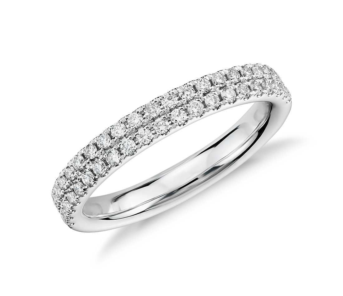 Rialto Pavé Diamond Ring In 14K White Gold (1/3 Ct. Tw.) With Regard To Most Popular Diamond Double Row Anniversary Bands In 14K White Gold (Gallery 7 of 15)