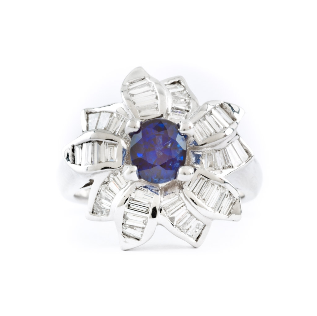 Rings – Gem Boutique With Current Princess Cut Blue Sapphire And Diamond Five Stone Rings In 14k White Gold (View 15 of 15)