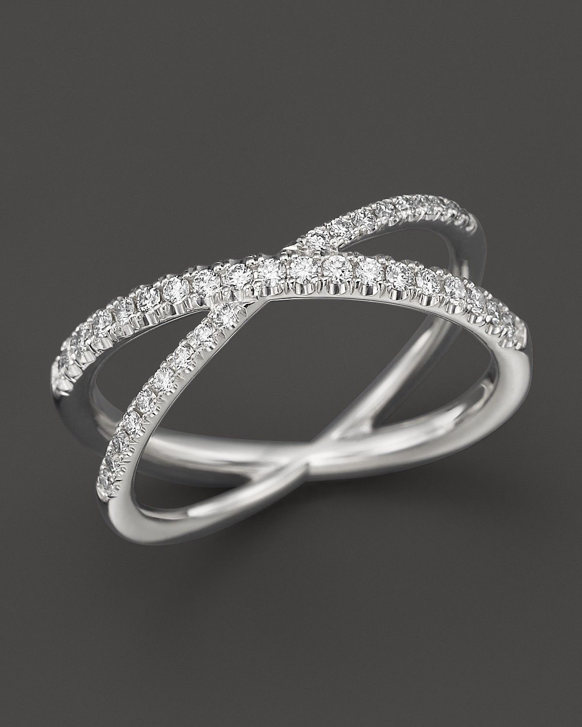"Roberto Coin 18K White Gold Diamond Crossover ""x"" Ring, .28 Ct. T (View 14 of 15)"