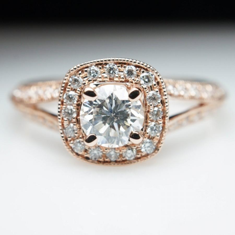 Rose Gold Cushion Halo Diamond Engagement Ring Vintage Style Split Intended For Most Current Vintage Style Yellow Gold Engagement Rings (Gallery 9 of 15)