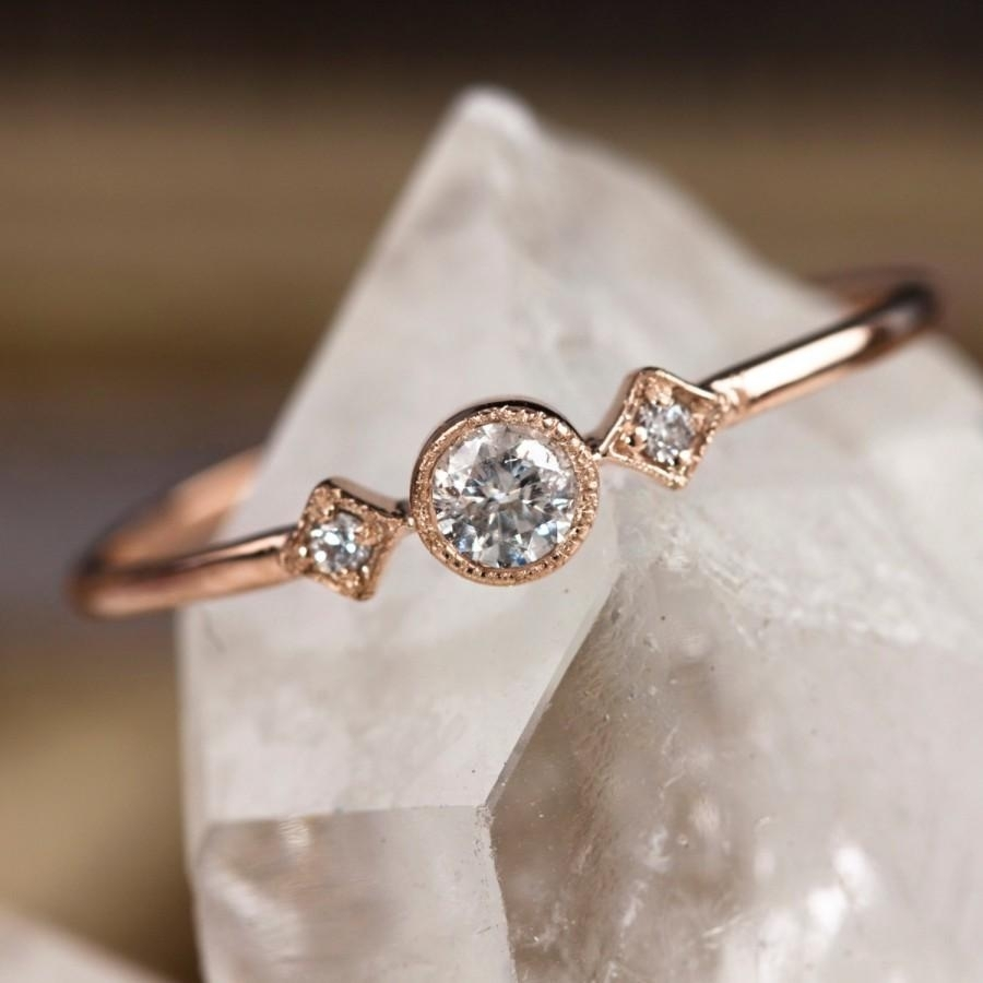Rose Gold Engagement Ring, 14K Solid Rose Gold, .15Ctw Diamond Throughout Latest Diamond Flower Vintage Style Engagement Rings In 14K White Gold (Gallery 9 of 15)