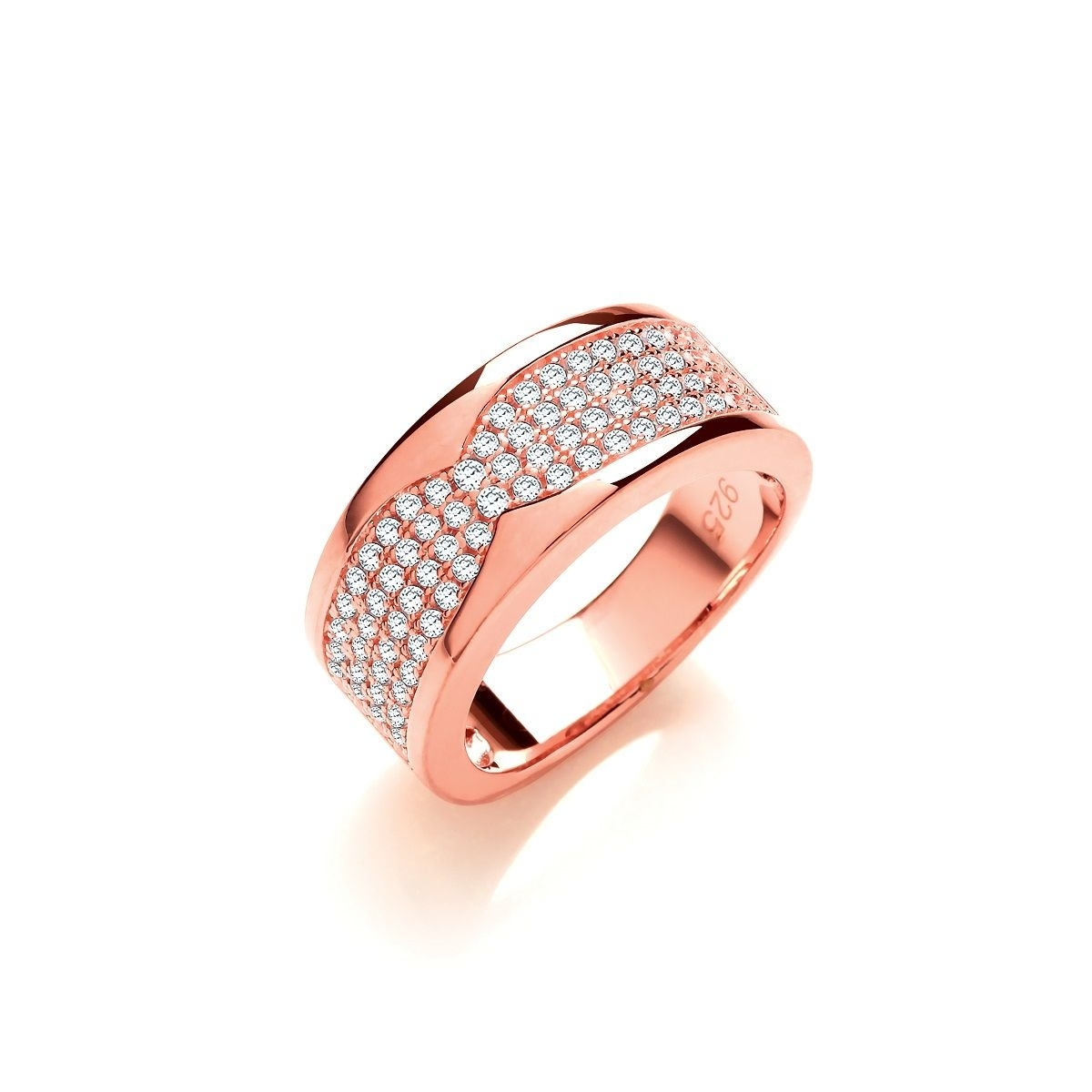 Rose Gold Plated Sterling Silver Cubic Zirconia Four Row Pave Half Regarding Most Current Diamond Four Row Anniversary Bands In Sterling Silver (Gallery 6 of 15)