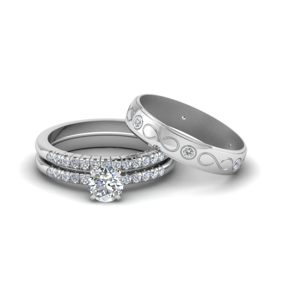 Round Cut Daimond Trio Matching Wedding Set For Him And Her In 18K Intended For Most Recently Released His And Her Wedding Bands Sets (View 10 of 15)