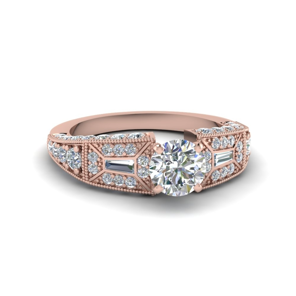 Round Cut Victorian Vintage Style Diamond Engagement Ring In 18K Regarding Most Up To Date Vintage Style Rose Gold Engagement Rings (View 8 of 15)