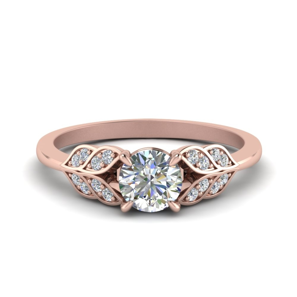 Round Cut Vintage Leaf Diamond Engagement Ring In 14K Rose Gold Regarding Best And Newest Vintage Style Diamond Anniversary Rings (Gallery 3 of 15)
