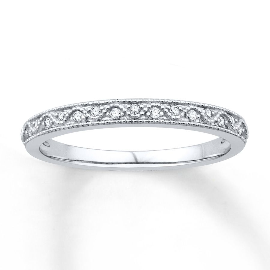Round Diamonds Dance Above And Below A Wave Flowing Through The With Newest Diamond Wave Vintage Style Anniversary Bands In 10K White Gold (Gallery 5 of 15)
