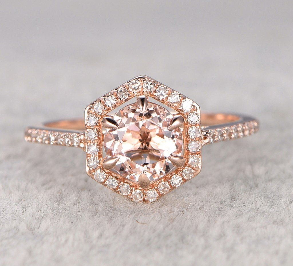 Round Morganite Engagement Ring Diamond Hexagon Halo 14K Rose Gold Regarding Most Popular Diamond Hexagonal Frame Vintage Style Wedding Bands (View 11 of 15)