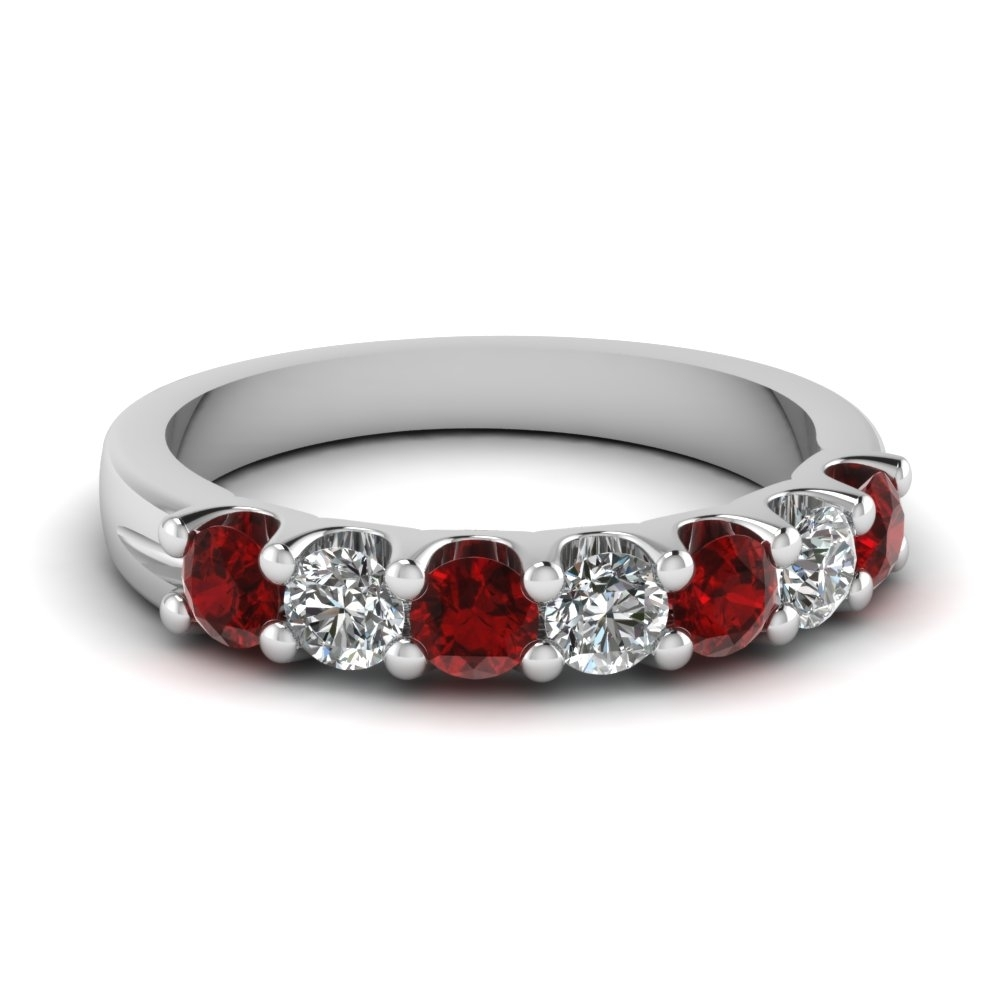 Ruby 7 Stone Round Diamond Anniversary Band In 14k White Gold With Regard To Recent Ruby And Diamond Five Stone Anniversary Bands In 14k White Gold (View 3 of 15)