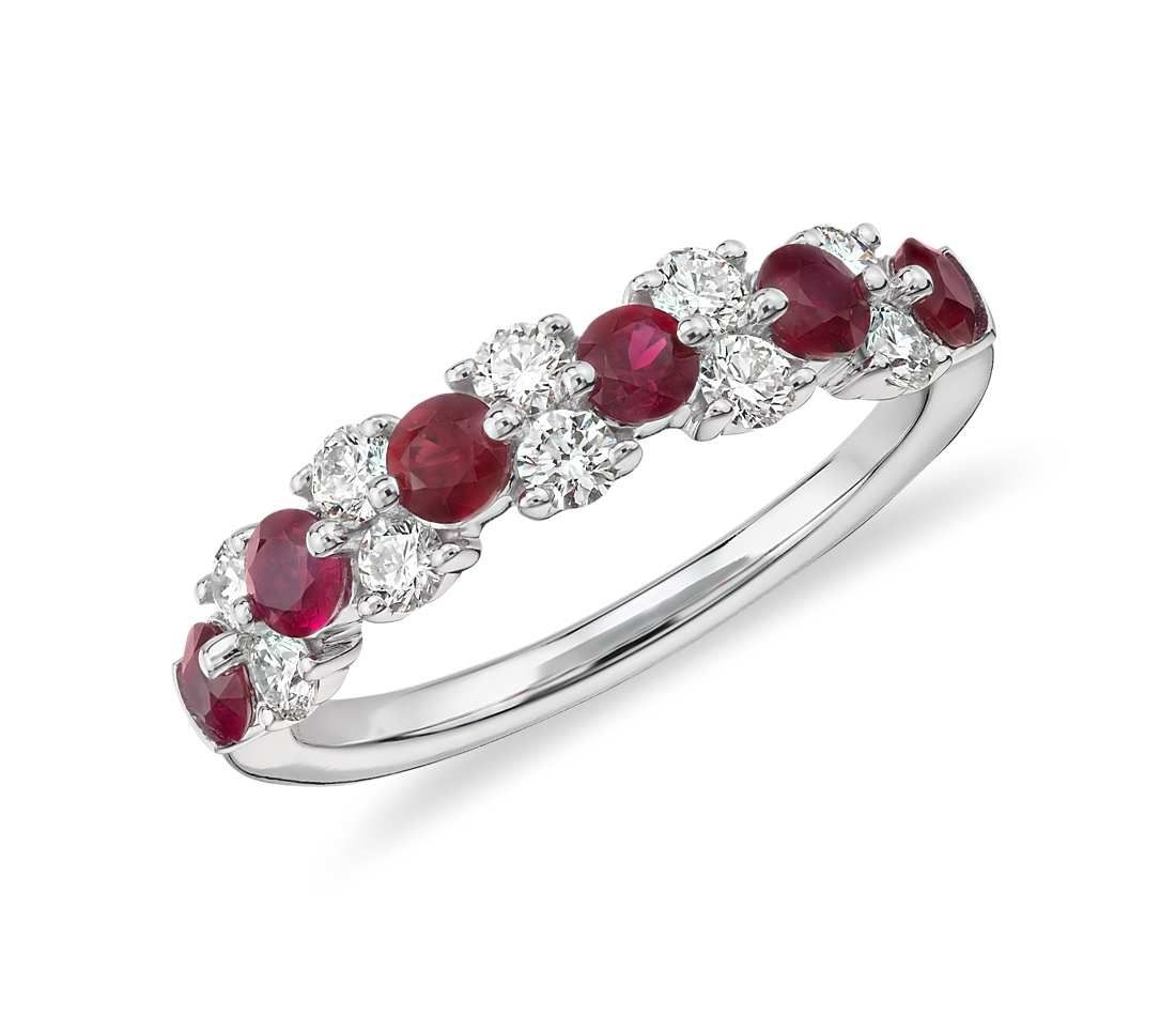 Ruby And Diamond Garland Ring In 18K White Gold (1/2 Ct (View 14 of 15)