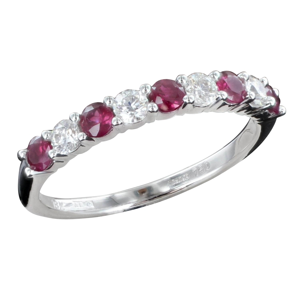 Ruby Diamond Eternity Ring From Browns Family Jewellers Intended For Best And Newest Ruby And Diamond Eternity Bands In Platinum (View 13 of 15)