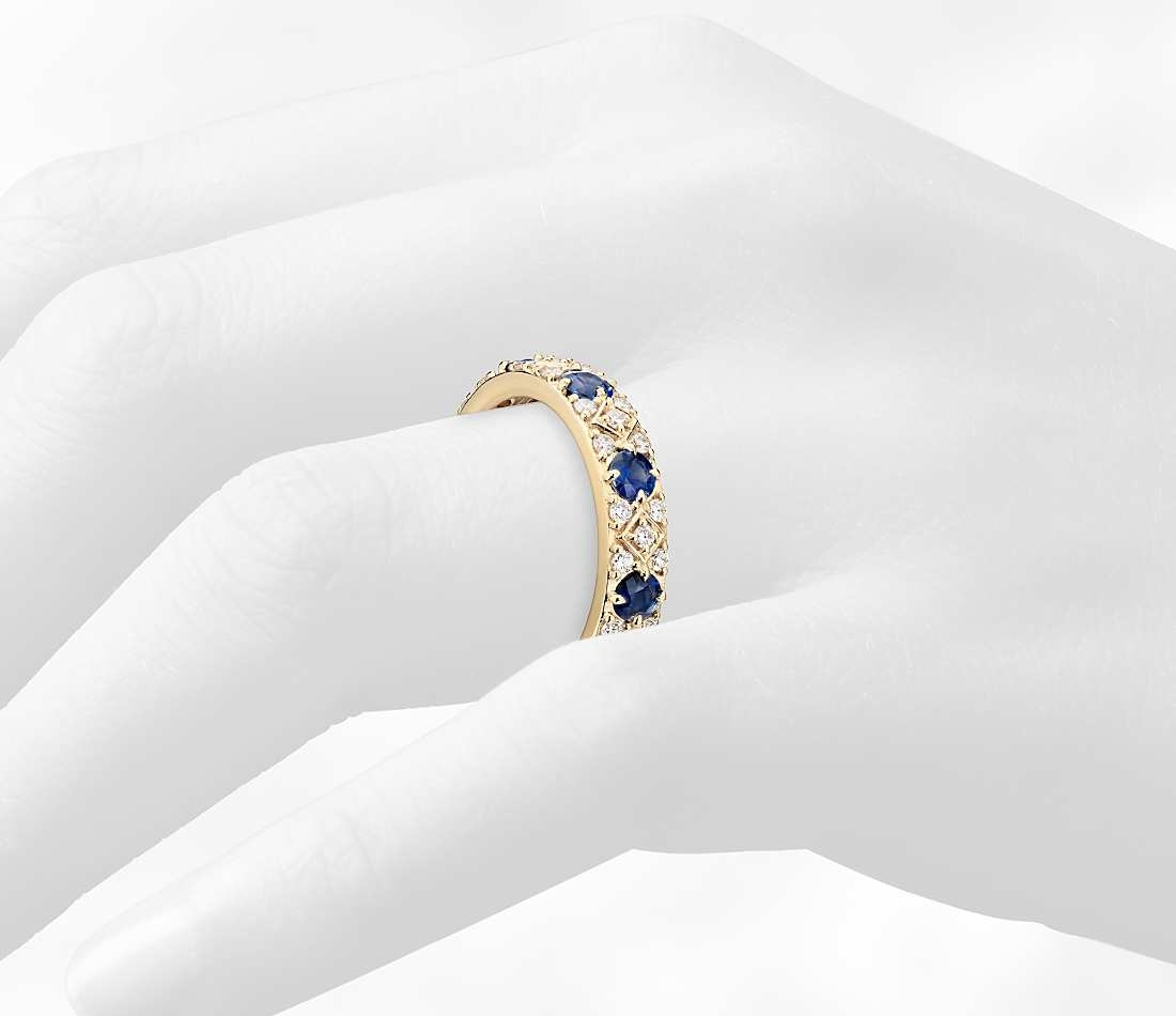 Sapphire And Cubic Zirconia Eternity Band Ring In 14k Yellow Gold Throughout Most Up To Date Princess Cut Blue Sapphire And Diamond Five Stone Rings In 14k White Gold (View 10 of 15)