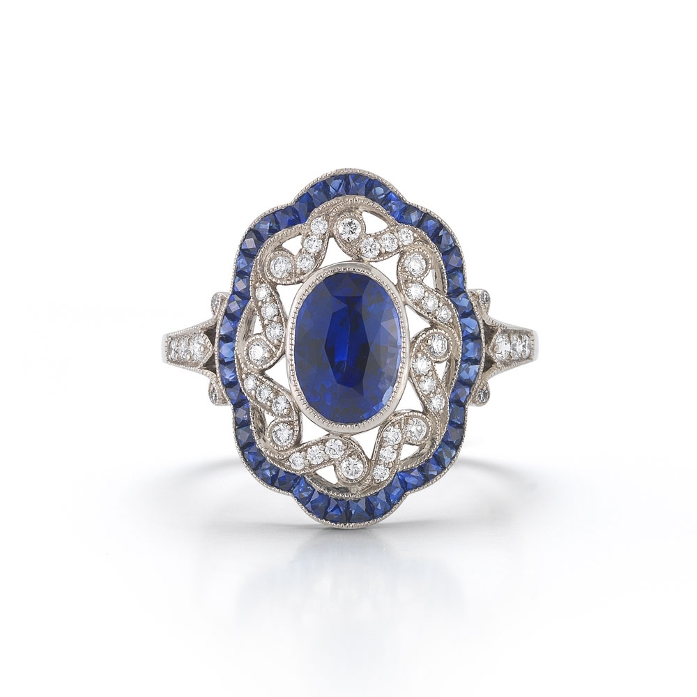 Sapphire Vintage Engagement Rings | Wedding, Promise, Diamond For Most Recent Vintage Style Diamond And Sapphire Engagement Rings (View 12 of 15)