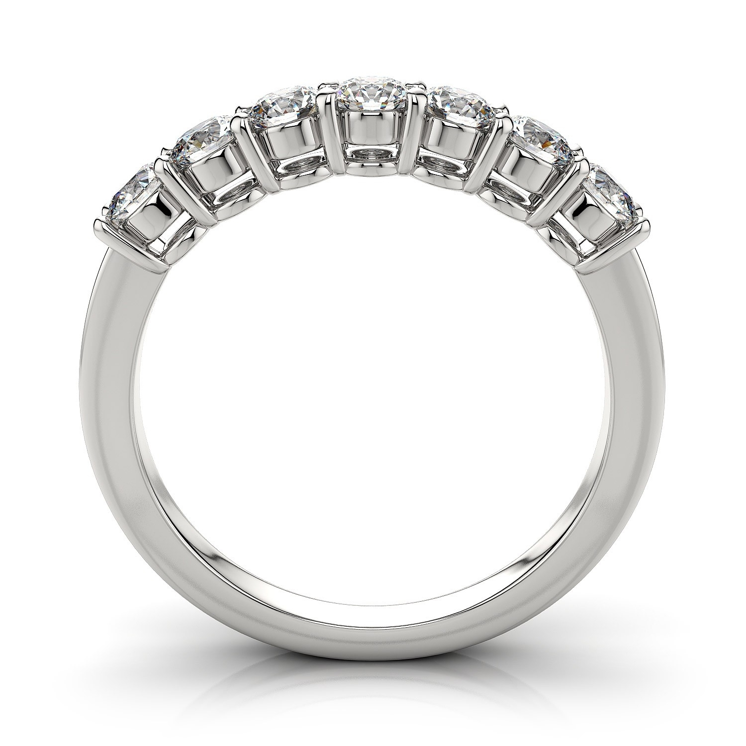 Seven Stone Diamond Wedding Ring In 14K White Gold ( (View 10 of 15)