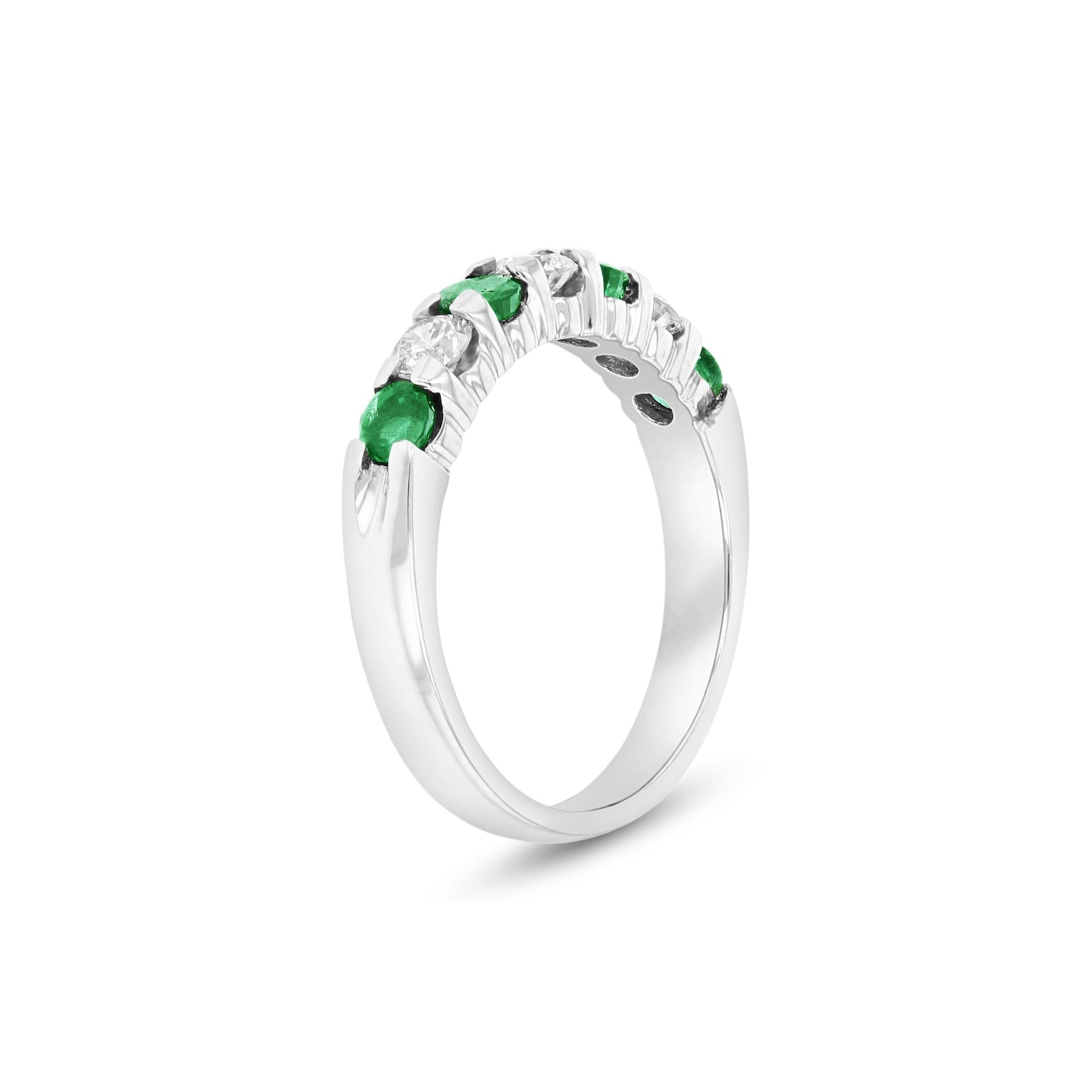Seven Stone Emerald And Diamond Ring, 14K White Gold For 2017 Emerald And Diamond Seven Stone Wedding Bands In 14K Gold (View 14 of 15)