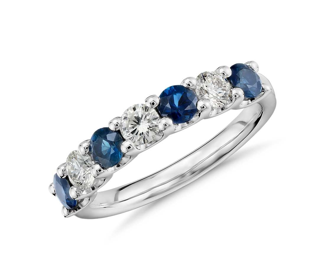 Seven Stone Sapphire & Cubic Zirconia Ring In 14K White Gold Within Recent Blue Sapphire And Diamond Seven Stone Wedding Bands In 14K Gold (View 11 of 15)