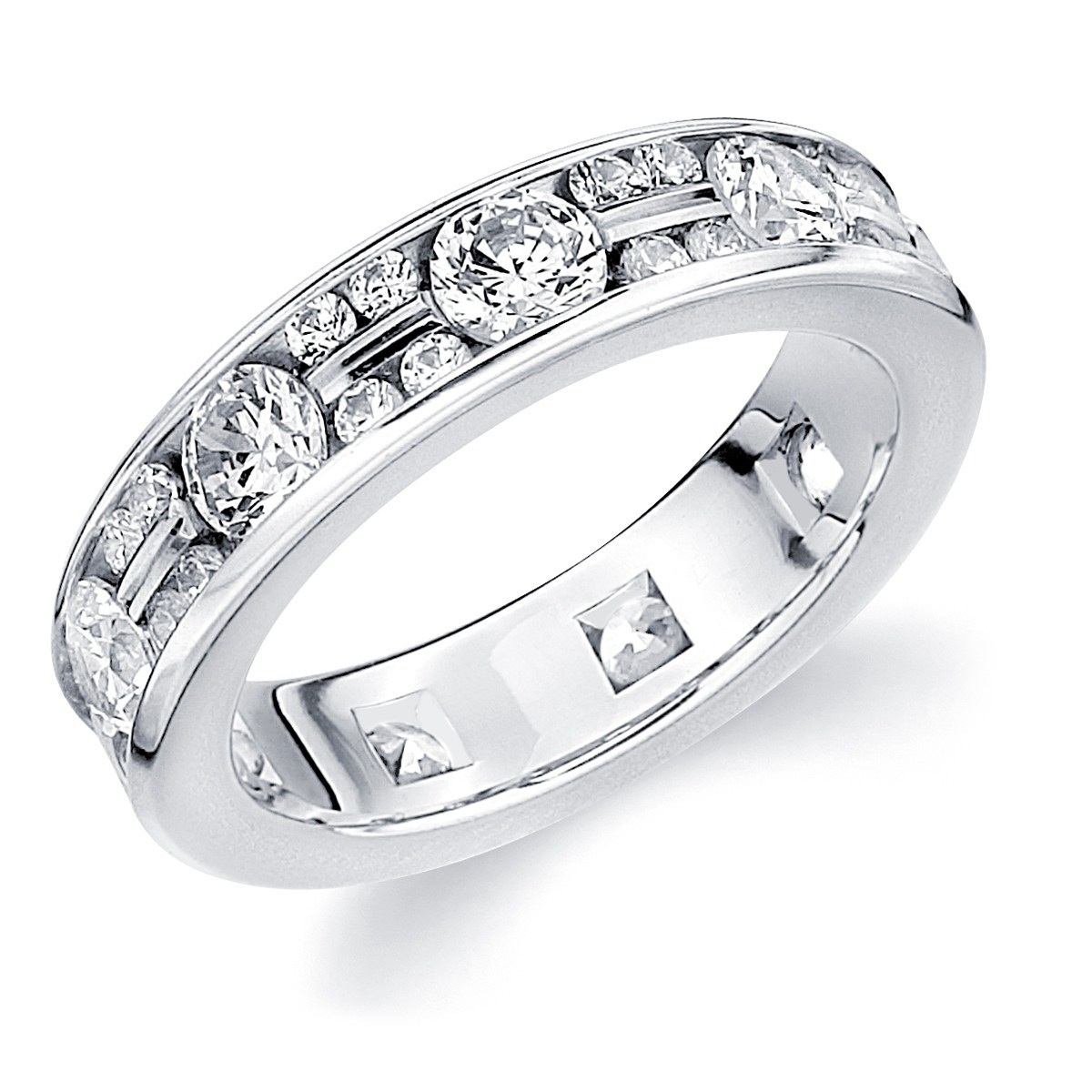 Shop 10K White Gold 2.0 Cttw Eternity Alternating Diamond Ring With Regard To Most Up To Date Diamond Alternating Vintage Style Eternity Wedding Bands In 10K White Gold (Gallery 3 of 15)
